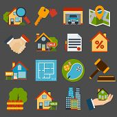 stock photo of garage  - Real estate icons set of house key garage swimming pool  isolated vector illustration - JPG