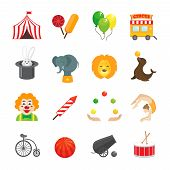 picture of cannon-ball  - Circus caravan rabbit elephant tricks and magical hat hocus pocus performance funny color icons set isolated vector illustration - JPG
