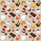 pic of biscuits  - Coffee and sweets seamless background of cakes chocolate biscuits vector illustration - JPG