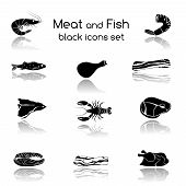 picture of meat icon  - Food fish and meat black icons collection of crab salmon pork steak isolated vector illustration - JPG