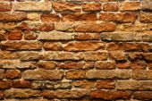 pic of fieldstone-wall  - old wall of red brick facade of an old building - JPG