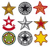 image of communist symbol  - set of stars vector illustration on white background - JPG