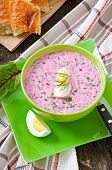 pic of lenten  - Cold soup with beetroot and yogurt in bowl - JPG