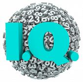 foto of quiz  - IQ letters on a ball or sphere of numbers intelligence quotient test - JPG