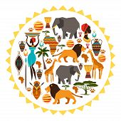 picture of african lion  - African ethnic background in shape of sun stylized icons - JPG