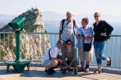 picture of gibraltar  - Portrait of happy tourist people on the Rock of Gibraltar - JPG