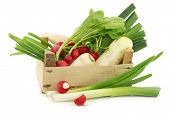 picture of crate  - mixed vegetables in a wooden crate on a white background - JPG
