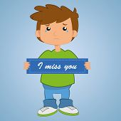 pic of child missing  - a sad boy in a blue background - JPG