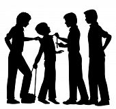 picture of immoral  - Editable vector silhouettes of older boys bullying a younger boy with all figures as separate objects - JPG