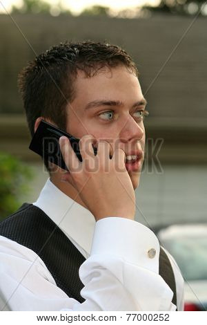 Prom Boy On Phone Closeup
