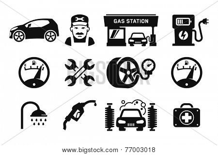 Gas station and Fuel pump icons set // 01