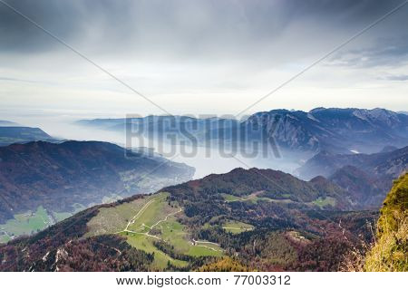 Panorama of the Alps from the top of the Schafberg mountain
