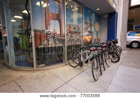 San Francisco, CA, US - Oct 2, 2012: Blazing Saddles Rental Bicycle Office
