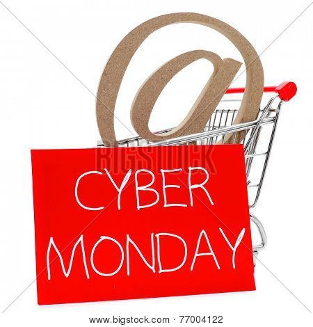 an at sign in a shopping cart, and a the text cyber monday written in white in a red signboard, on a white background