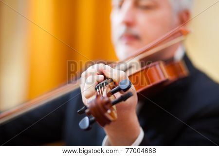 Musician playing his violin in a concert hall