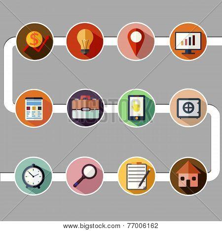 Business management and data analytics icon set