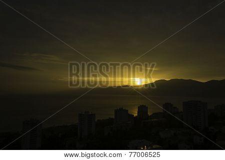 Sunset over Rijeka City