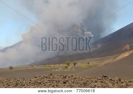 Dust And Ashes Shoots Out Of The Eruption Site
