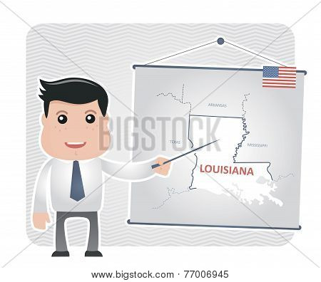 Man with a pointer points to a map of LOUISIANA