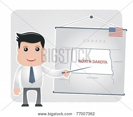 Man with a pointer points to a map of NORTH DAKOTA