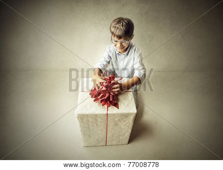 Boy with a big gift