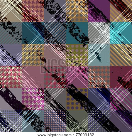 Diagonal plaid pattern with grunge effect.