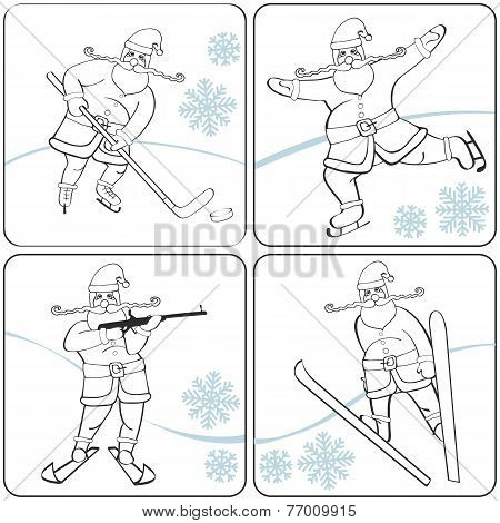 Santa playing winter sports. Skating,skiing,hockey,biathlon.Outl