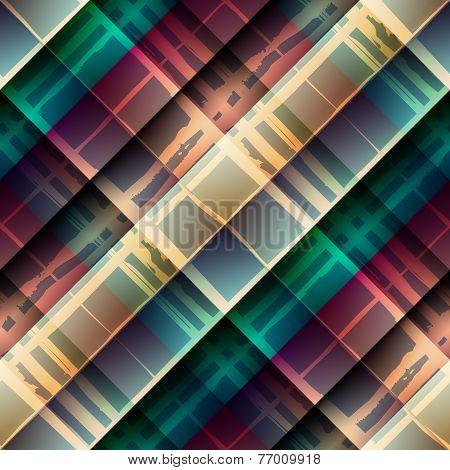 Diagonal plaid pattern on geometric rhombus background.