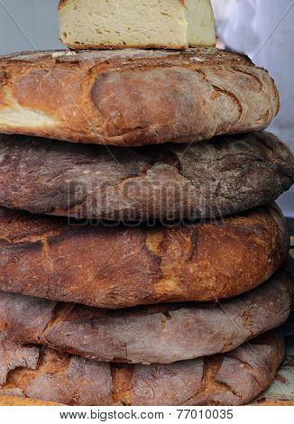Loaves Of Genuine Apulian Bread For Sale In Southern Italian Bakery