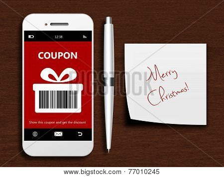 Mobile Phone With Christmas Coupon, Pen And Christmas Wishes