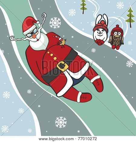 Santa  luge racer.Humorous illustrations.Winter sport