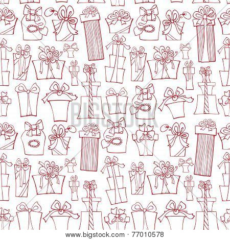 Gift box seamless pattern.Outline Doodle