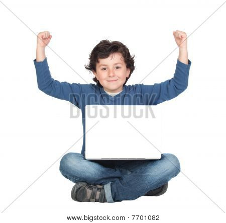 Winner Little Boy Sitting With Laptop