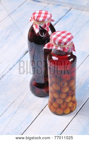 Jars With Cherry Liqueur.