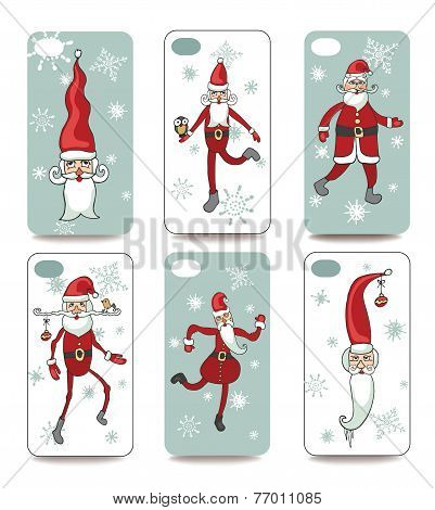 Funny Santa.Mobile phone cover  back set