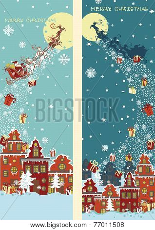 Christmas vertical banner set.Santa Claus coming to City