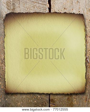 Vintage blank sign on old wood plank background