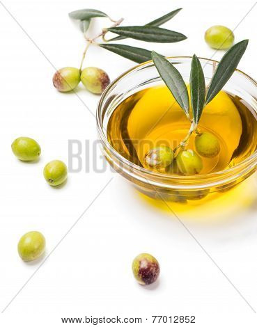 Olive Oil And Fresh Olives.