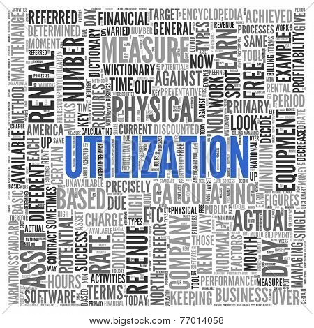 Close up Blue UTILIZATION Text at the Center of Word Tag Cloud on White Background.