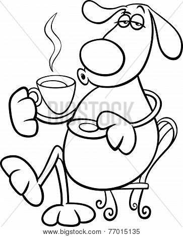 Dog With Coffeel Coloring Page