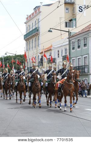 National Republican Guard During Pope Benedict XVI Visit To Portugal