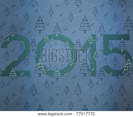 2015 against teal christmas tree pattern
