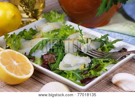 White fish (toothfish) with salad