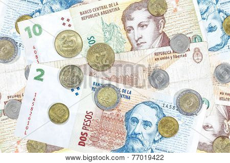 Money From Argentina, Peso Banknotes And Coins.