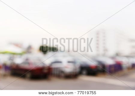 Abstract Blurred Car In Parking Lot