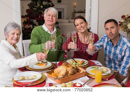 Happy family toasting at camera during christmas dinner at home in the living room