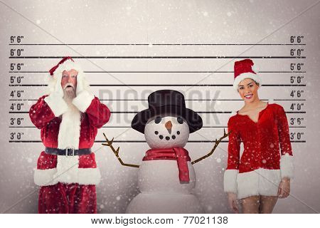 Santa is shocked to camera against mug shot background
