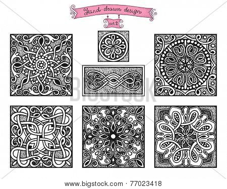 Hand-drawn design patterns, in vintage style set 2.