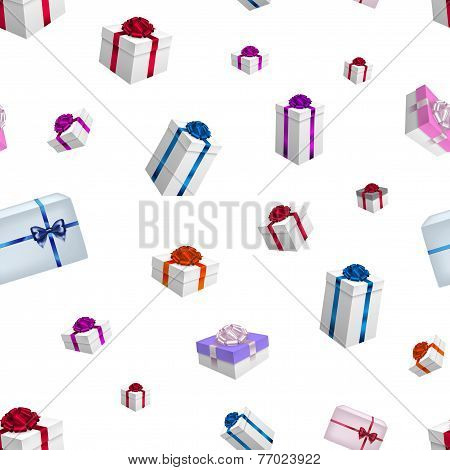 Christmas Background Pattern With Gifts In Vector