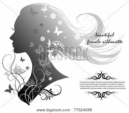 Silhouette Of A Beautiful Woman With Long Hair